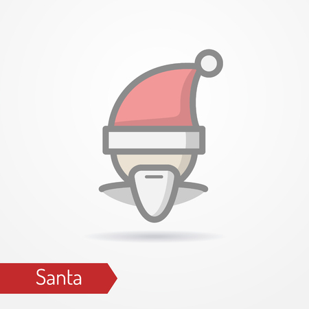 Santa Claus with beard or abstract person celebrating new year in festive hat. Man head isolated icon in flat style with shadow. Holiday vector stock image. Illustration