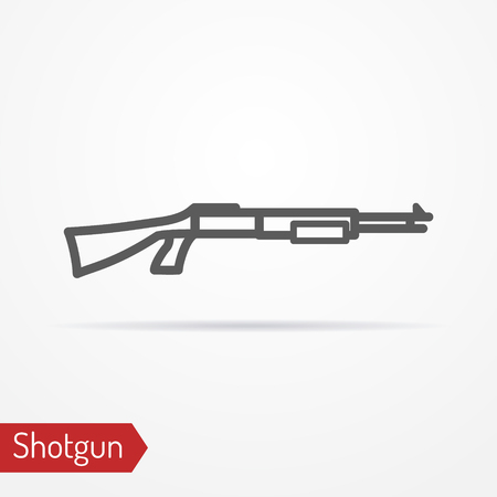 Abstract isolated shotgun icon in line style with shadow. Typical police special forces or hunter weapon. Military vector stock image. Illustration