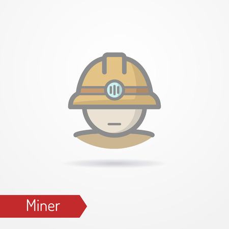 Miner face vector icon Illustration