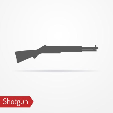 Hunter rifle silhouette vector icon Illustration