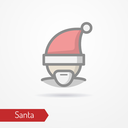 Santa Claus in new year hat vector icon Illustration