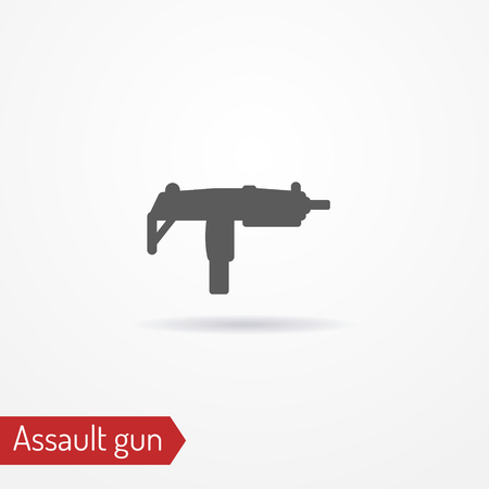 Compact submachine gun silhouette vector icon