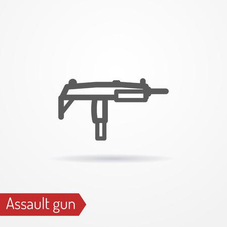 sub: Compact submachine gun line vector icon