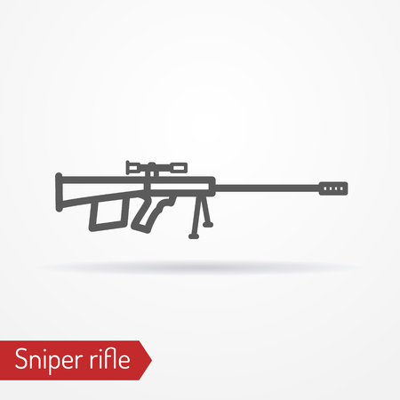 Sniper rifle silhouette vector icon