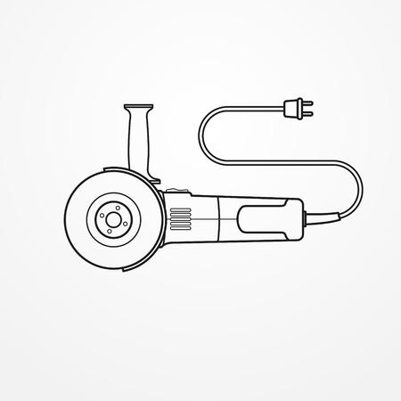 Electric angle grinder on white background, vector illustration.