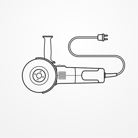 Electric angle grinder on white background, vector illustration.