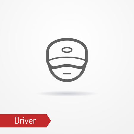 Driver face icon on white background, vector illustration.