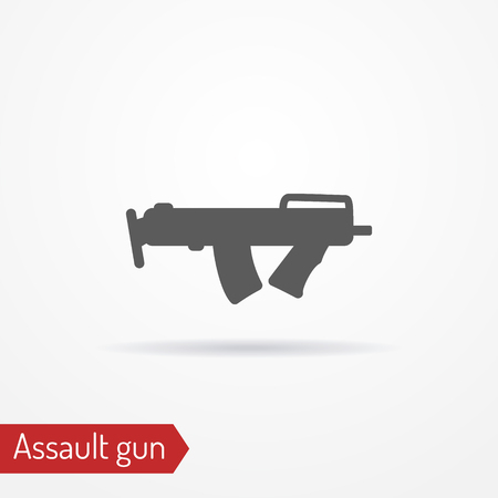 Compact assault weapon line icon, vector illustration.