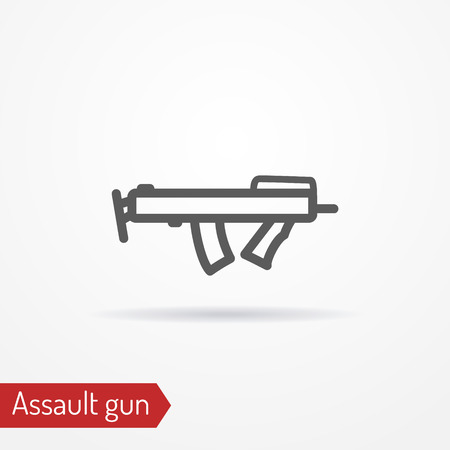 Compact sub machine gun line icon, vector illustration.