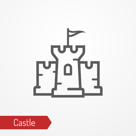 Medieval castle silhouette vector icon