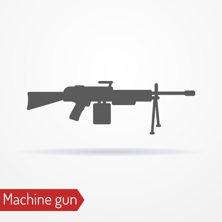 Machine gun silhouette vector icon