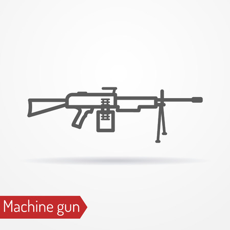 Machine gun line vector icon Illustration.