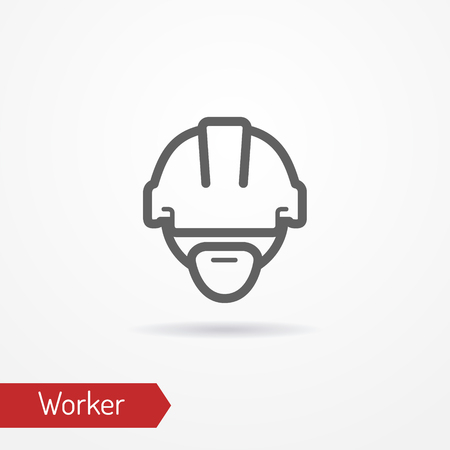 Worker face vector icon Çizim