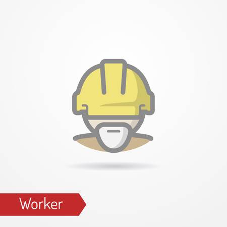 Worker face vector icon Illustration