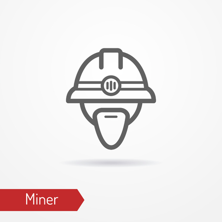 Miner face vector icon Stock Photo