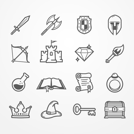 RPG PC game vector line icons