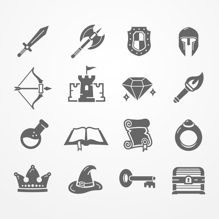 RPG PC game vector icons