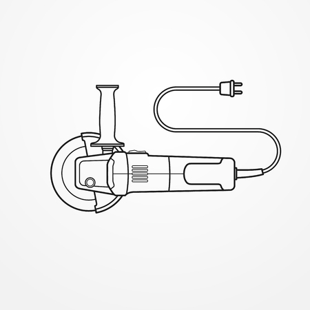 Electric angle grinder vector image illustration on light background.