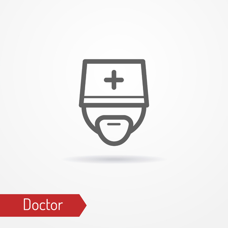 Doctor face vector icon illustration on light background.