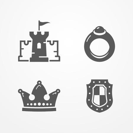 Medieval kingdom vector icons illustration.