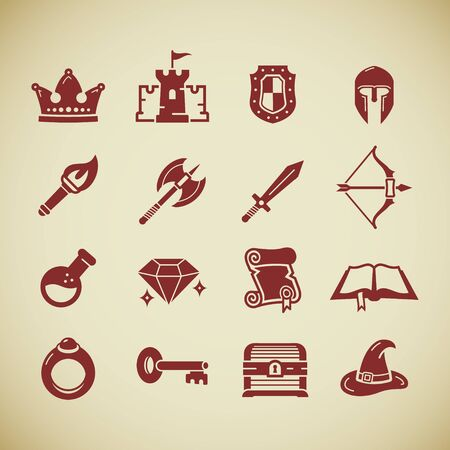 Set of fantasy role play PC game icons in silhouette style. Sword battle axe shield warrior helmet bow castle diamond torch potion spell book scroll. Vector stock image. Ilustracja