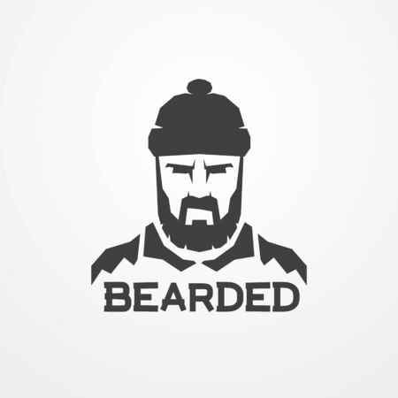 Bearded lumberjack worker man vector logo image 일러스트