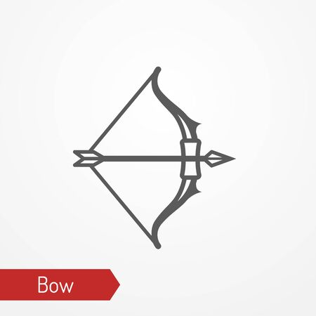 Medieval bow with arrow silhouette vector icon 일러스트