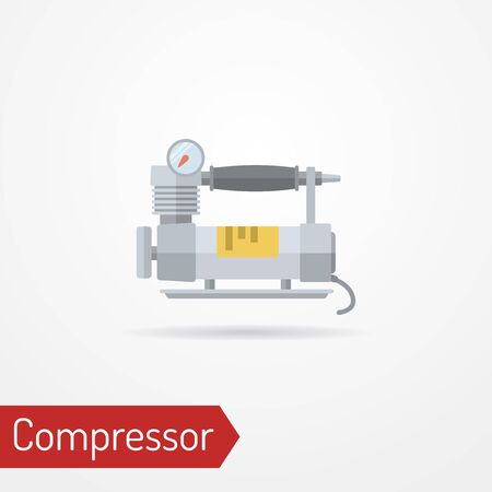 Car air compressor flat style vector image 일러스트