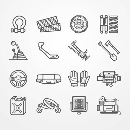Off-road and overland car equipment vector set 일러스트