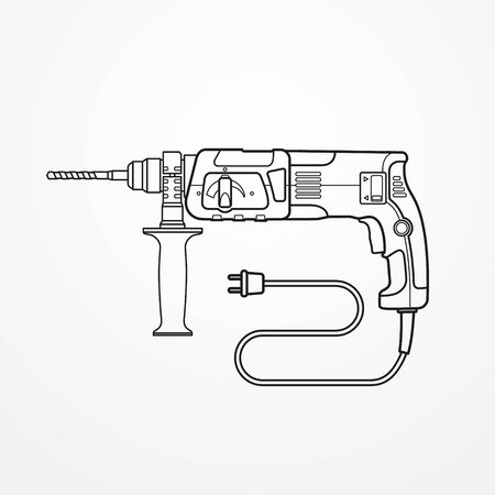 Electric drill rotary hammer outline vector image 일러스트