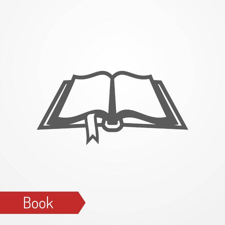 Old book with bookmark silhouette vector icon
