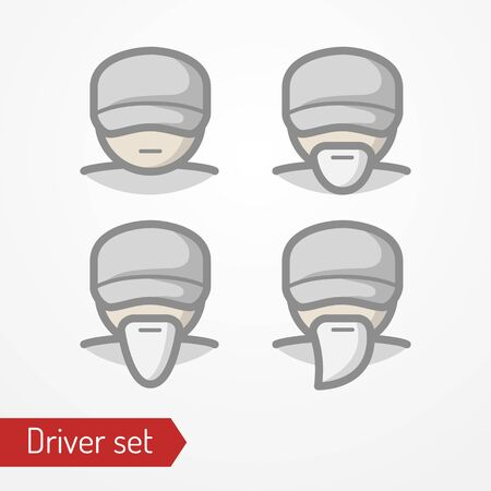 Profession driver or worker face vector icon set 일러스트