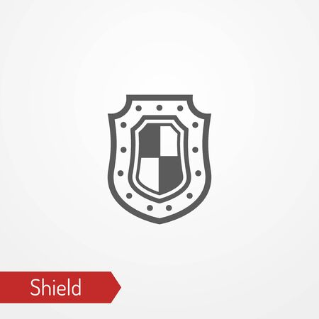 Medieval shield with flag silhouette vector icon