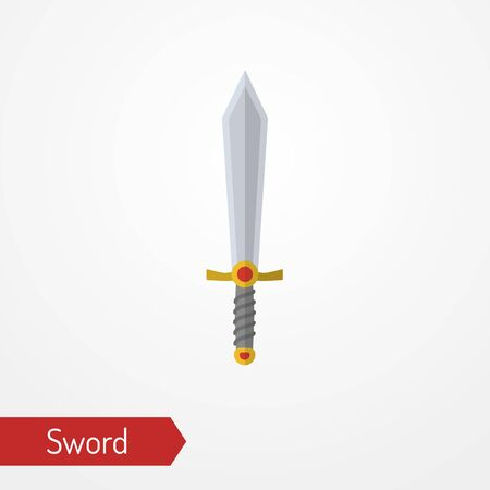 Medieval iron sword with gems vector image