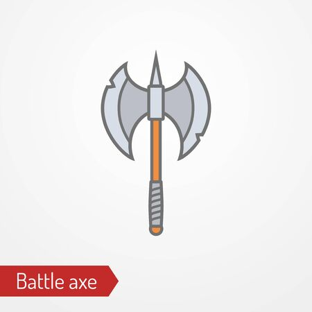 Abstract iron two-headed battle axe. Isolated icon in flat style. Typical medieval barbarian, viking or fantasy creature hand weapon. Vector stock image.