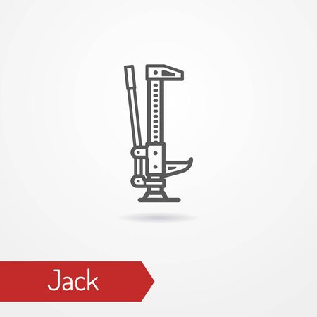 Car jack for high lifting. SUV car isolated tool in silhouette style. Off-road and overland equipment for self recovery. Vector stock image.