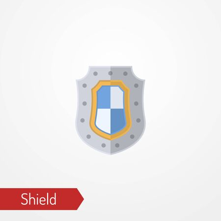 Abstract iron shield with flag colors. Symbol of protection. Isolated icon in silhouette style. Typical medieval knight defense weapon. Vector stock image.