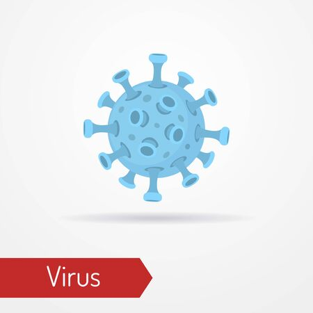 Coronavirus cell or any dangerous virus bacterium. Isolated icon in flat style. Worlwide epidemy, pandemic or bio hazard concept. Vector stock image. 일러스트