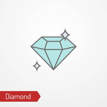 Abstract shining diamond with sparkles. Isolated crystal icon in flat style. Typical precious gemstone, the symbol of success, richness or wealth. Vector stock image.