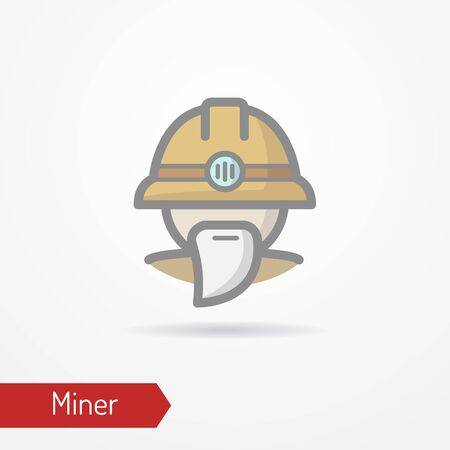 Typical simplistic miner face in professional helmet with light. Miner or digger head isolated icon in flat style with shadow. Profession vector stock image. 일러스트