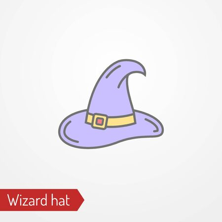Abstract wizard hat with buckle. Isolated icon in flat style. Typical fantasy character headdress. Sorceress magician warlock witch vector stock image. 일러스트