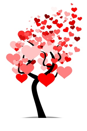 Love tree illustration made out of red heart leafs Vector