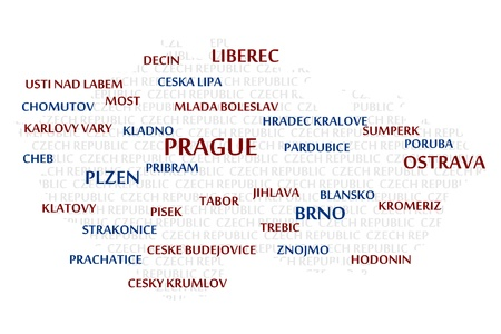 trebic: CZECH REPUBLIC map made from cities with the country name as background word cloud