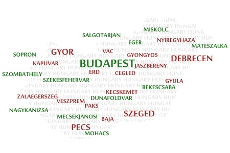 HUNGARY map made from cities with the country name as background word cloud