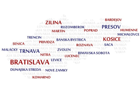 european map: SLOVAKIA map made from cities with the country name as background word cloud