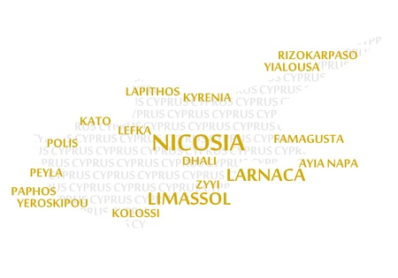 kibris: Cyprus map made from cities with the country name as background word cloud