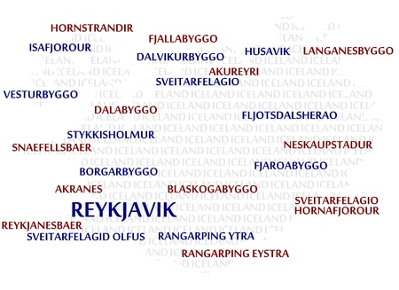 iceland: Iceland map made from cities with the country name as background word cloud