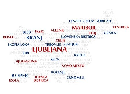 SLOVENIA map made from cities with the country name as background word cloud Illustration