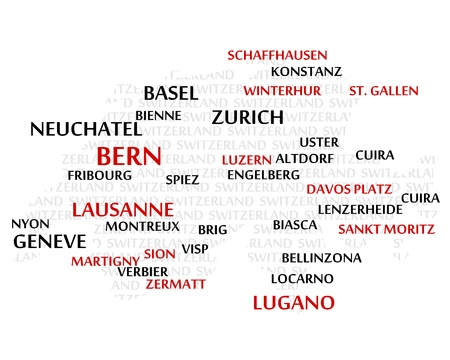 SWITZERLAND map made from cities with the country name as background word cloud Stock Vector - 17281655