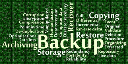 portability: Backup word cloud with data background